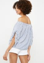 ONLY - Sailor off shoulder top - blue & white