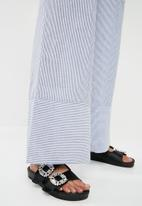 ONLY - High waisted wide leg pants - blue & white