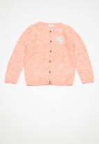 name it - Deruma long sleeve knit cardigan - peach & orange