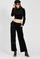 Supré  - Wide leg velour track pant - black