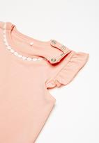 name it - Demona short sleeve frill top - peach