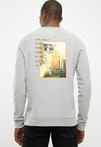 basicthread - Printed pullover crew neck sweat - grey