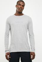 basicthread - Slogan print long sleeve crew neck tee - grey
