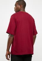adidas Originals - Mens oversized tee -  burgundy & white