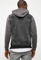 New Look - Jersey sleeve denim jacket - grey