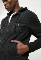 New Look - Jersey sleeve denim jacket - black