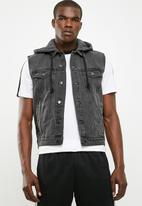 New Look - Sleeveless hooded denim jacket- grey