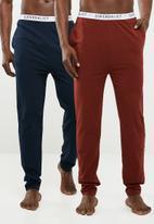 Superbalist - Knit slim lounge pant 2 pack - navy & maroon