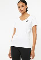 Nike - V - neck tee - white & black