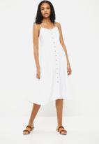 New Look - Plain button through midi dress - white