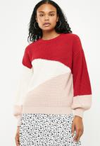 New Look - Diagonal colour block jumper - multi