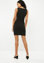 Superbalist - Bodycon dress with button detail - black