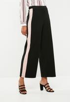 Superbalist - Textured wide leg knit pant - black & pink