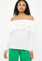Superbalist - Frilled off the shoulder blouse - white