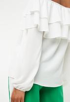 Superbalist - Frilled off the shoulder blouse - white