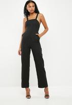 Superbalist - Wide leg square jumpsuit - black