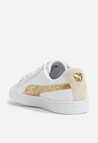 PUMA - Basket Heart Glitter - white/gold