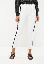 New Look - Contrast stripe trouser - white
