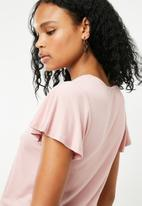 New Look - V-neck tie front blouse - pink