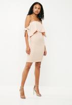 New Look - Bow tie sleeve mini dress - neutral