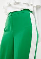 New Look - Madrid crop side stripe wide leg - green & white
