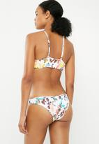Bacon Bikinis - Floral scrunch bottom - white