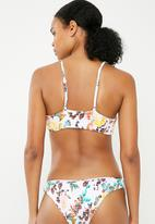 Bacon Bikinis - Floral scrunch top - white
