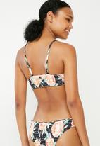 Bacon Bikinis - Floral scrunch top - black
