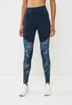 Nike - Power flutter gym tights - navy & blue
