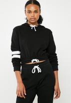 Superbalist - Cropped drawstring hoodie - black