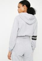 Superbalist - Cropped drawstring hoodie -  grey