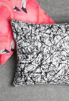 Grey Gardens - Black ink cushion cover - black & white