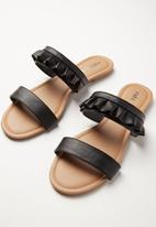 Cotton On - Everyday double strap ruffle slide - black