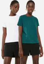 Superbalist - Crew neck 2 pack tee - white & green