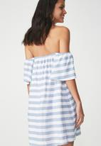 Cotton On - Woven summer off the shoulder oliver dress - white & blue