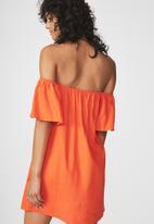 Cotton On - Woven summer off the shoulder oliver dress - mandarin red