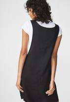 Cotton On - Woven summer utility pinafore dress - black