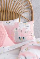 Linen House - Llama party kids duvet cover set - pink
