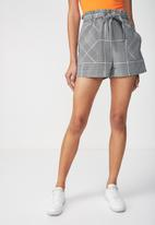 Cotton On - High waist summer belted short - grey check