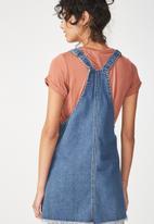 Cotton On - Denim summer pinafore dress -  blue