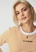 Cotton On - Tammy summer chopped graphic long sleeve tee - yellow