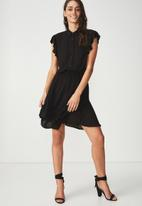 Cotton On - Woven summer Bertie button up tea dress - black