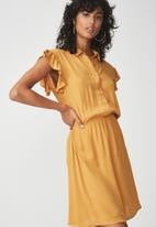 Cotton On - Woven summer Bertie button up tea dress - yellow