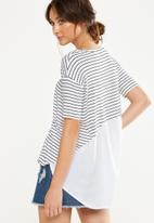 Cotton On - Lara spliced summer tunic elbow sleeve top -  white & black