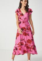 Cotton On - Woven summer flora v-neck maxi dress - pink & red
