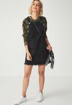 Cotton On - Denim summer pinafore dress - black