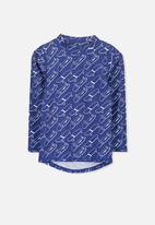 Cotton On - Fraser long sleeve rash vest - blue