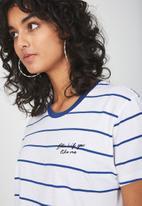 Cotton On - Tbar fox summer graphic t-shirt - white & blue