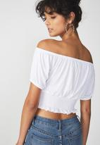 Cotton On - Vicki tie summer front top - white