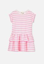 Cotton On - Alba short sleeve dress -  white & pink